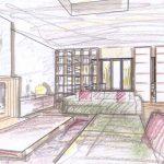 Zeichnung, Wohnzimmer