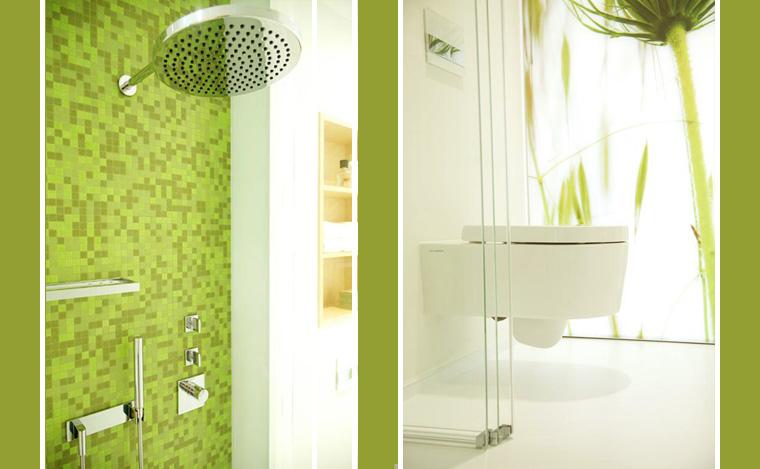 WC Dusche Grün Mosaik